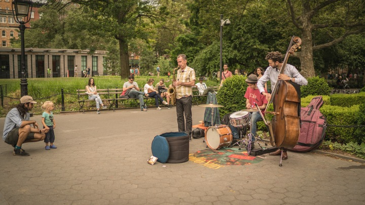 jazz trio and audience